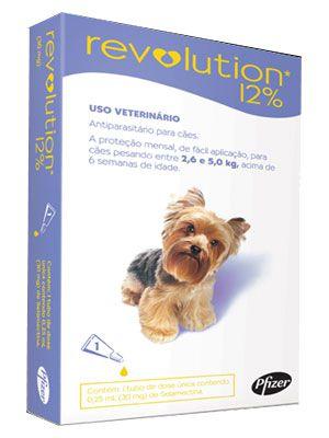 Antipulga Revolution 12% Cao 2,6 A 5kg 0,25ml Caixa Com 1 Pipeta