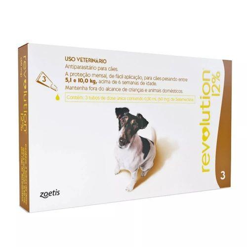 Antipulga Revolution 12% Cao 5 A 10kg 0,50ml Caixa Com 3 Pipetas