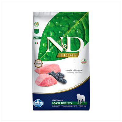 Ração N&D Prime Cao Adulto Maxi Breeds Cordeiro E Blueberry 10,1kg