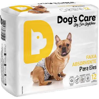 Fralda Absorvente Dog's Care Para Eles G Com 12 Unidades