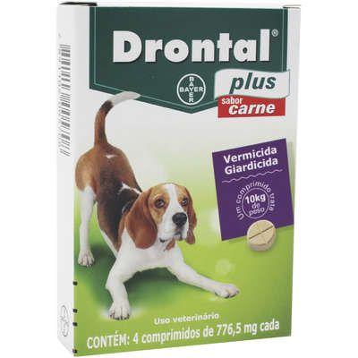 Vermifugo Drontal Plus Carne 10kg Caixa Com 4 Comprimidos