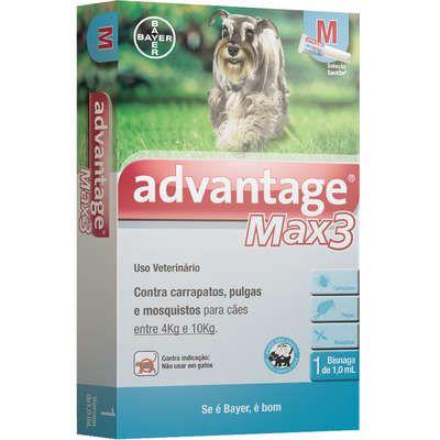 ANTIPULGA ADVANTAGE MAX3 4 A 10KG 1ML M CAIXA COM 1 BISNAGA