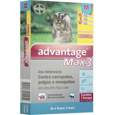Antipulga Advantage Max3 4 A 10kg 1ml M Caixa Com 3 Bisnagas
