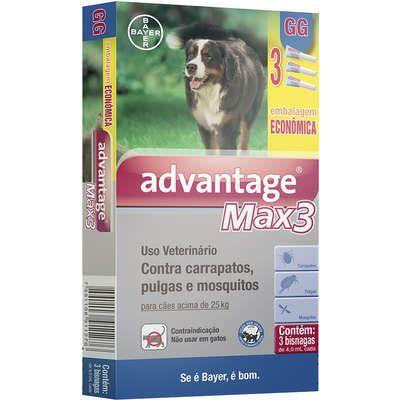 Antipulga Advantage Max3 Acima 25kg 4ml Gg Caixa Com 3 Bisnagas