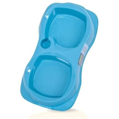 Comedouro Duplo Zooplast Azul M 900ml