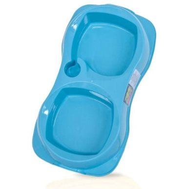 Comedouro Duplo Zooplast Azul G 1300ml