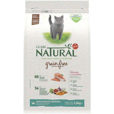 Ração Guabi Grain Free Gato Adulto Castrado Salmão E Lentilha 1,5kg