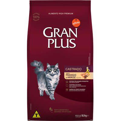 Ração Gran Plus Gato Adulto Castrado Frango E Arroz Pacotes Individuais 10 X 1,0kg