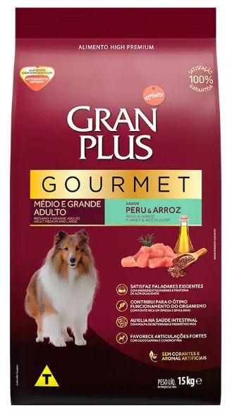 Ração Gran Plus Gourmet Cão Adulto Raça Média E Grande Peru E Arroz 15kg