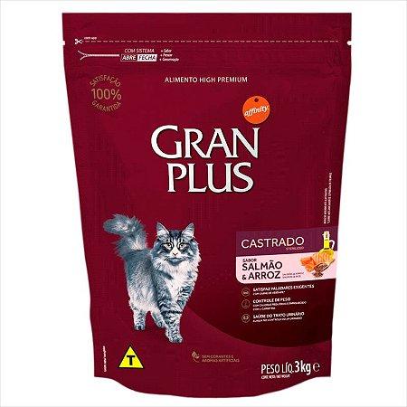 Ração Gran Plus Gato Castrado Salmão Arroz 3kg