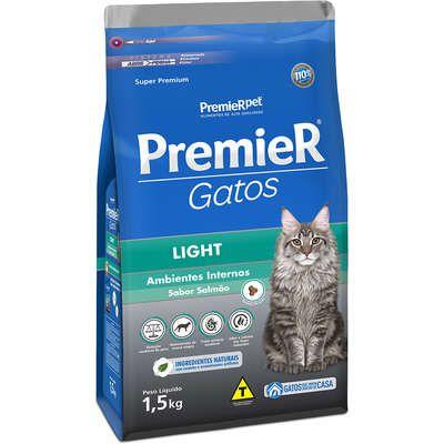 Ração Premier Ambientes Internos Gato Adulto Light Salmão 1,5kg