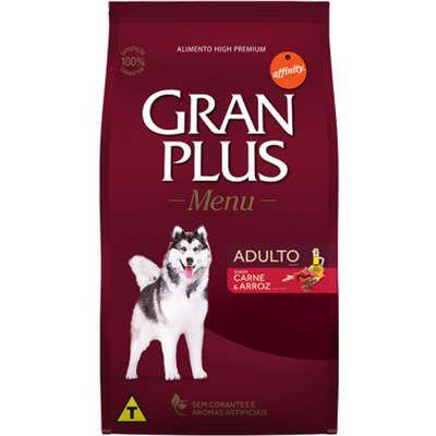 Ração Gran Plus Menu Cão Adulto Carne E Arroz 20kg