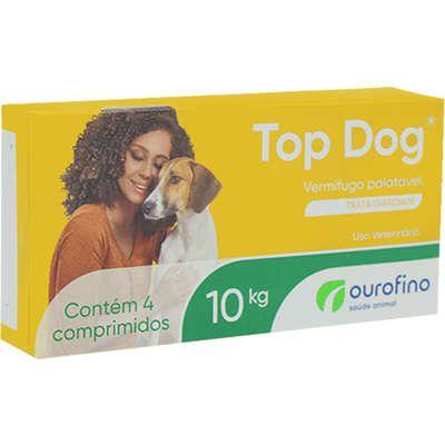 Vermífugo Top Dog Cão 10kg Caixa Com 4 Comprimidos