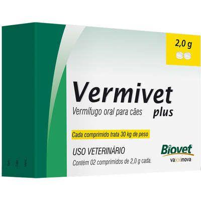 Vermífugo Vermivet Plus Cão 30kg 2G Caixa Com 2 Comprimidos