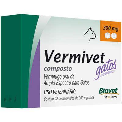 Vermífugo Vermivet Gato 300Mg Caixa Com 2 Comprimidos