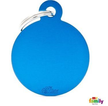 Placa de Identificação My Family Basic Redondo Grande Alumínio Azul