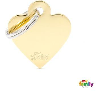 Placa de Identificação My Family Basic Coração Pequeno Dourado Brass