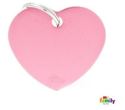 Placa de Identificação My Family Basic Coração Grande Alumínio Rosa