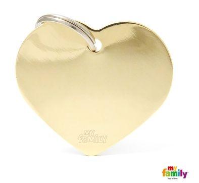 Placa de Identificação My Family Basic Coração Grande Dourado Brass