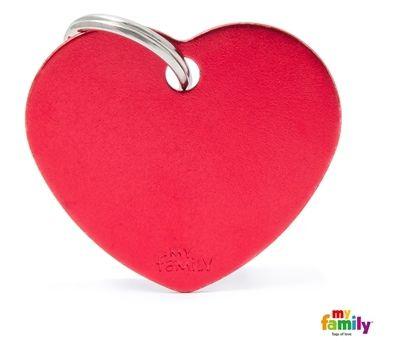 Placa de Identificação My Family Basic Coração Grande Alumínio Vermelho