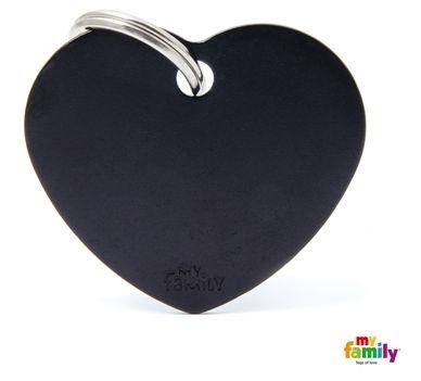 Placa de Identificação My Family Basic Coração Grande Alumínio Preto
