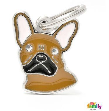 Placa de Identificação My Family Friends Bulldog Francês Marrom