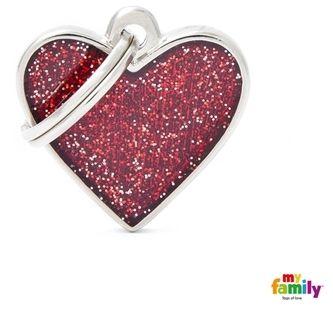 Placa My Family Shine Coração Glitter Vermelho