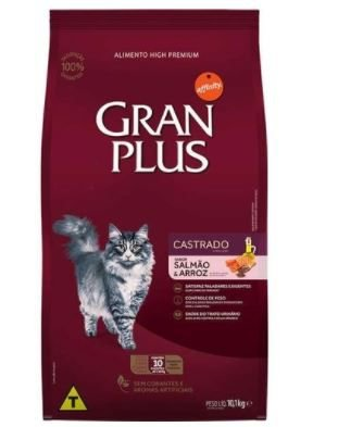 Ração Gran Plus Gato Adulto Castrado Salmão E Arroz Pacotes Individuais 10x1,0kg