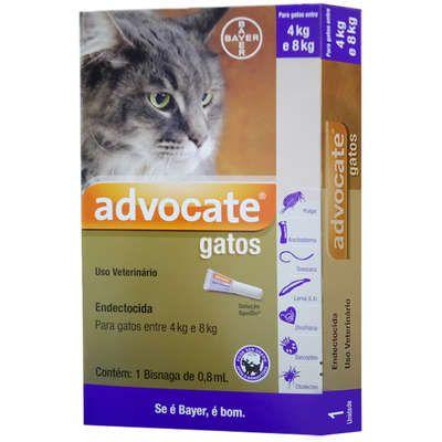 Antipulga Advocate Gato 4 A 8kg 0,8ml Caixa Com 1 Bisnaga
