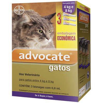 Antipulga Advocate Gato 4 A 8kg 0,8ml Caixa Com 3 Bisnagas