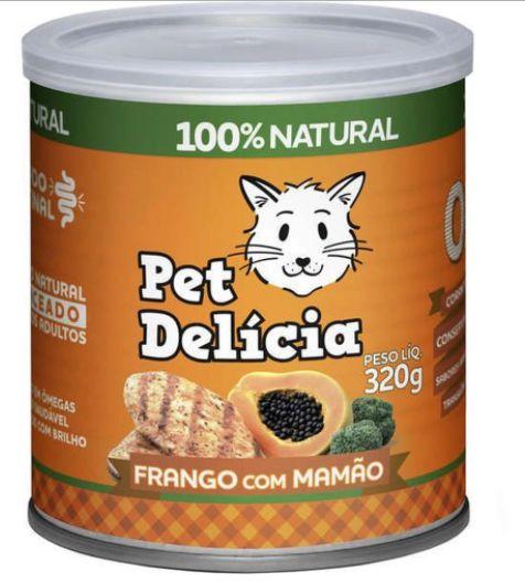 Lata Pet Delicia Gato Adulto Frango com Mamão 320g