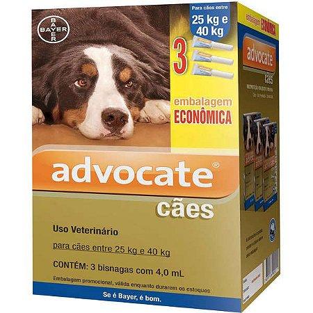 Antipulga Advocate Cao 25 A 40kg 4ml Caixa Com3 Bisnagas