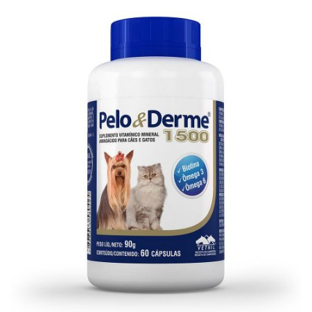 Suplemento Vetnil Pelo & Derme 1500mg - 60 Cápsulas