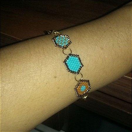 Pulseira Miyuki  hexagonal azul  turquesa e marrom