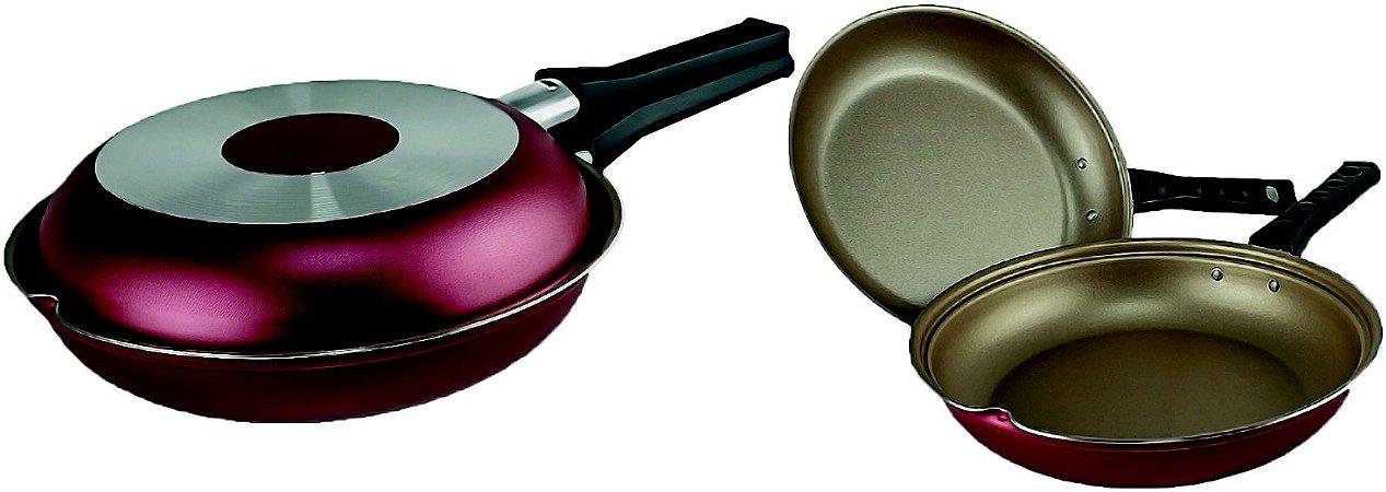Omeleteira Antiaderente Multiuso Cereja/Creme 20cm - Luz Nob