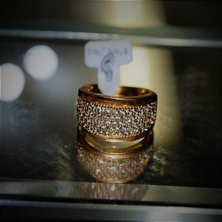 Anel Dourado Zirconia Cubica