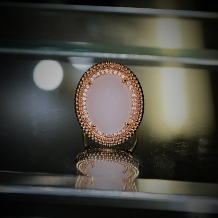 Anel Pedra Quartzo Rosa