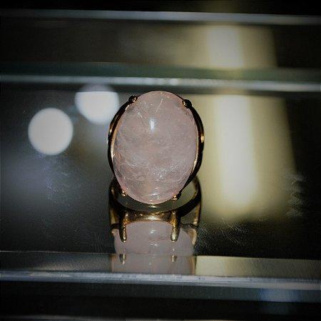Anel Pedra Natural Quartzo Rosa