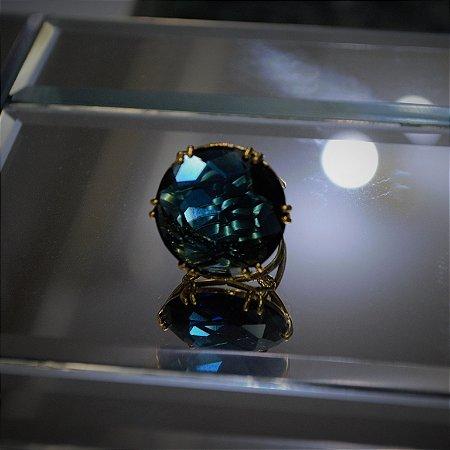 Anel Azul Safira - Dourado