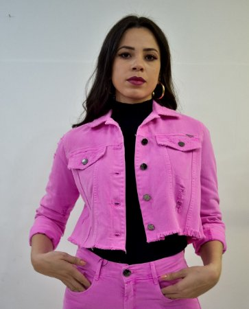 Jaqueta Lança Perfume Cropped Rosa