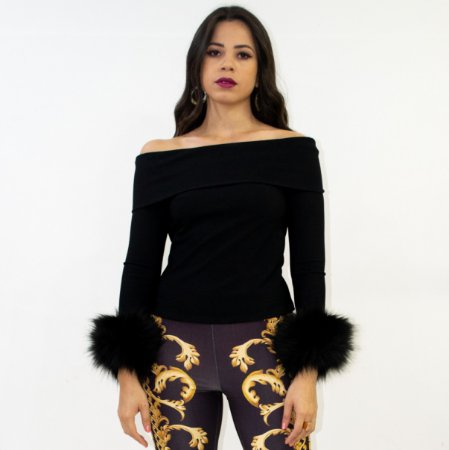 Blusa Lança Perfume ombro a ombro preto