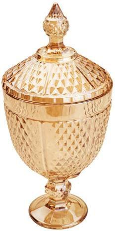 Lyor Potiche Decorativo C/ Pé Cristal Âmbar Perseu