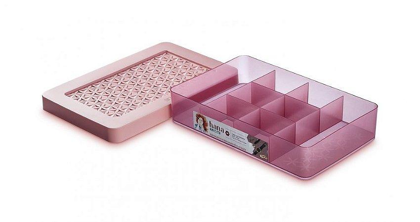 Ordene caixa com divisórias para jóias rosa