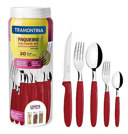 Tramontina Conjunto Talheres Ipanema 30PÇ vermelho Ref23398-788