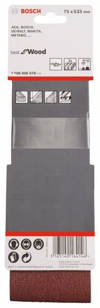 Bosch Conjunto de Cinta de Lixa X440 3Pçs