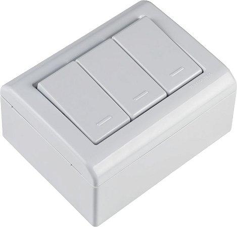 Tramontina LizFlex Caixa de Sobrepor C/ 3 Interruptores Simples