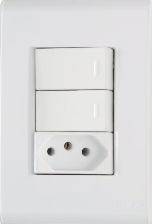 Tramontina Liz 2 Interruptores Simples 10A 1 Tomada 2P+T