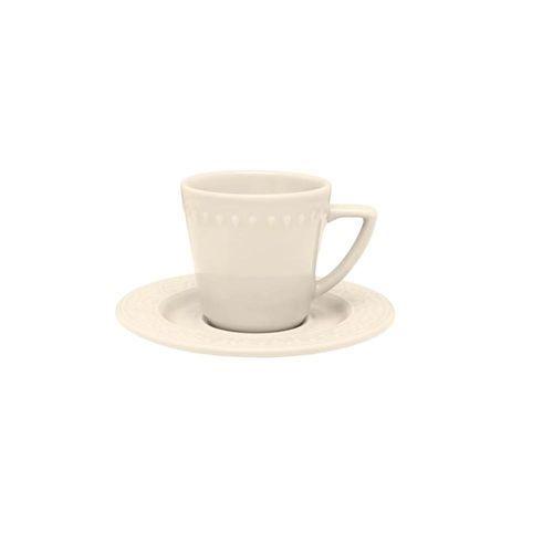 Oxford Xícara Chá C/ Prato Relevo Mendi Marfim