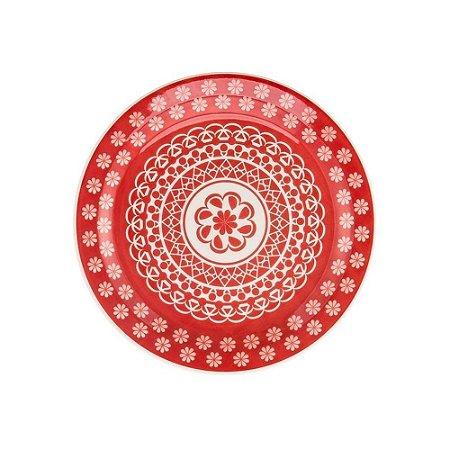 Oxford Prato Lanche Floreal Renda Vermelha