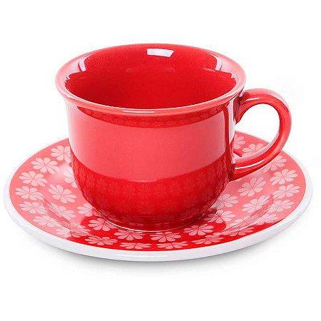 Oxford Xícara Chá C/ Prato Floreal Renda
